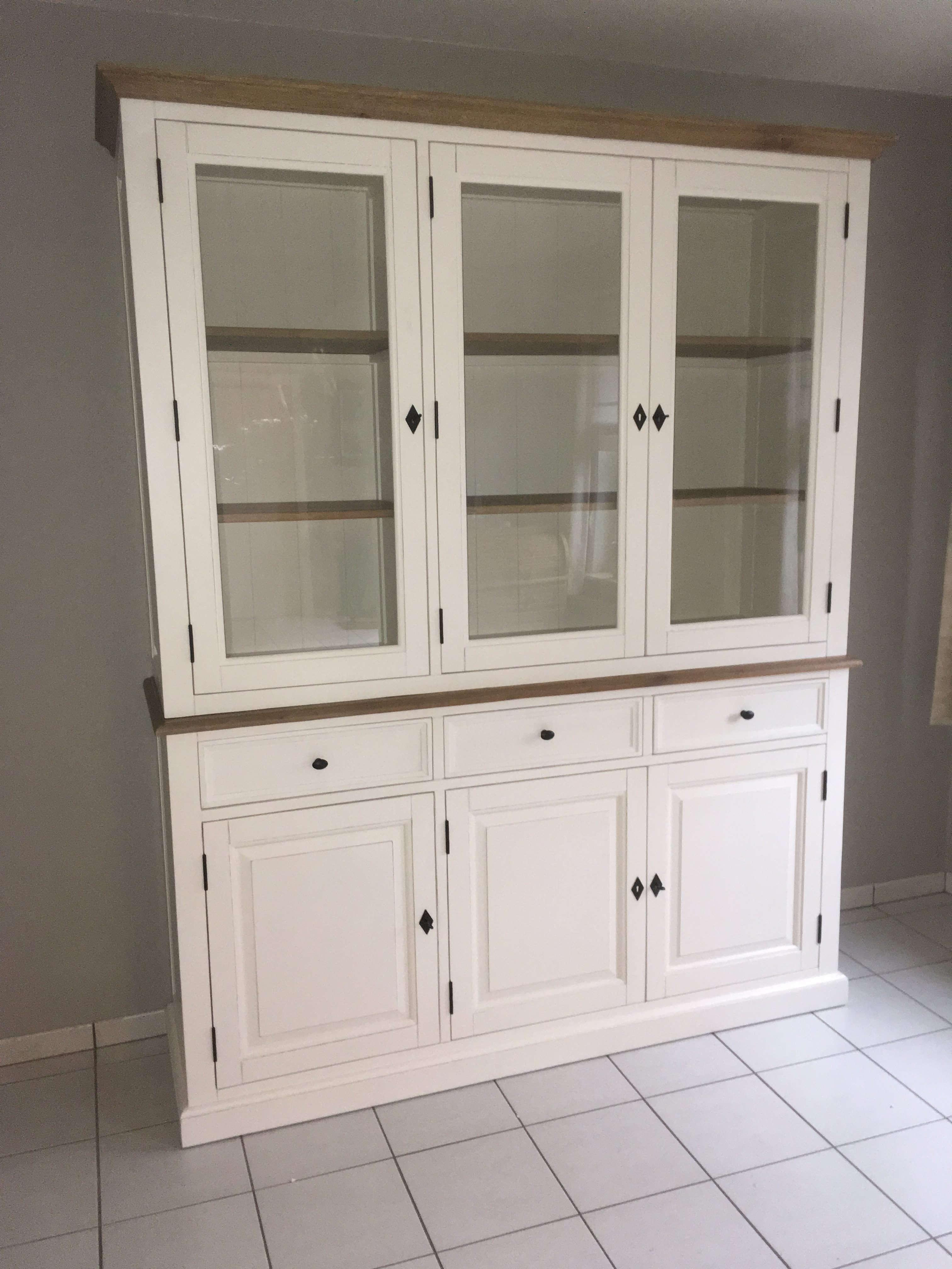 vitrinekast 3-deurs verouderd wit en vergrijsde eik