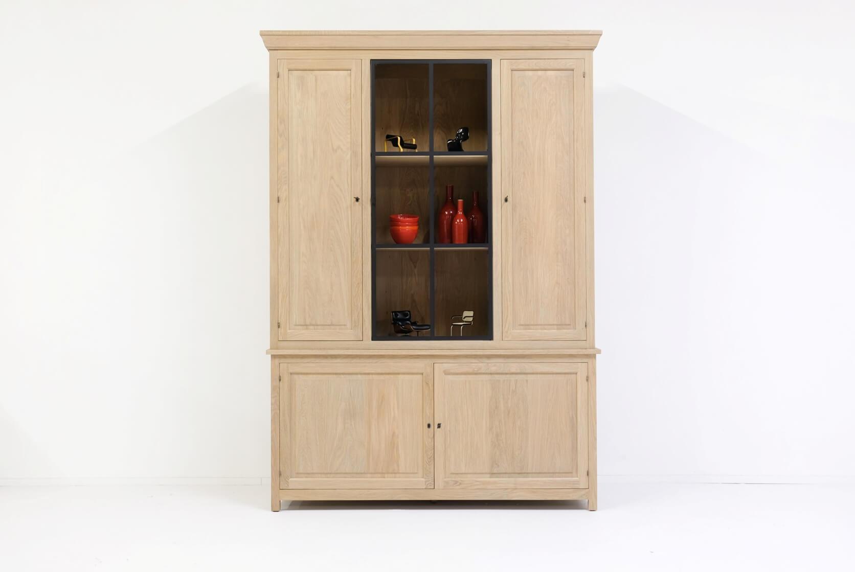 Vitrine kast eik met frame of houten deuren verschillende afmetingen mogelijk
