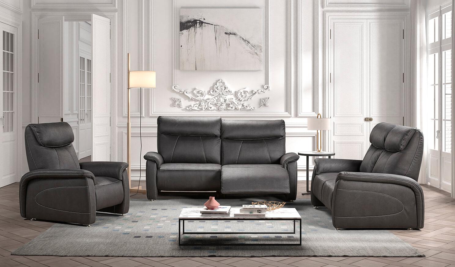 Landelijke zetels met relaxen in diverse kleuren stof en leder